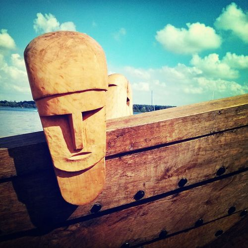 The carved head of Nydam Tveir, at its launch on Saturday in Sottrupskov. Denmark Ships Vikings  Archeology