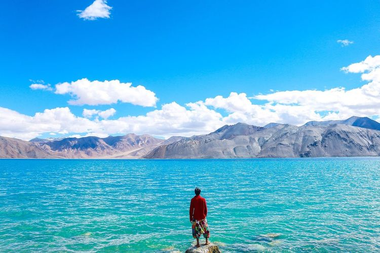 Rear view of man standing by sea against mountains