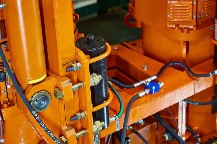 High angle view of yellow machine part