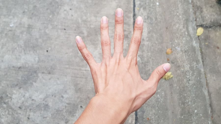 Close-Up Of Hand Gesturing At Footpath