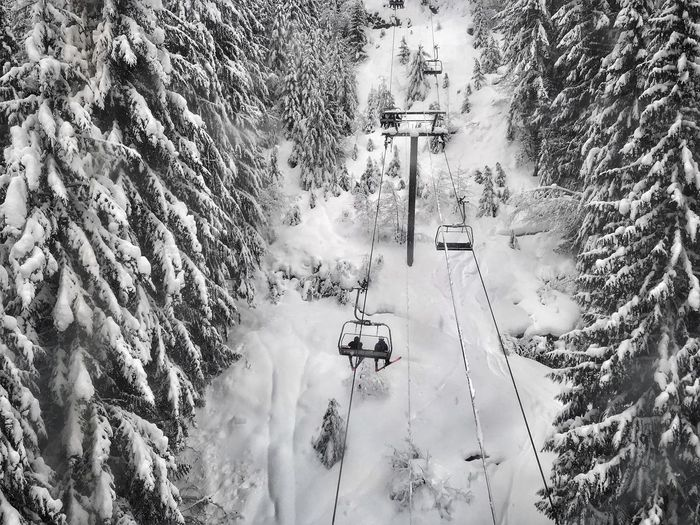 High Angle View Of Ski Lift During Winter