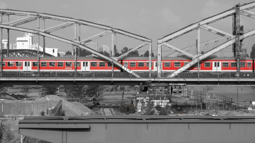 Red Filter Train Bridge Water Industrial Landscapes Cityscapes Blackandwhite Check This Out Cool Stuff