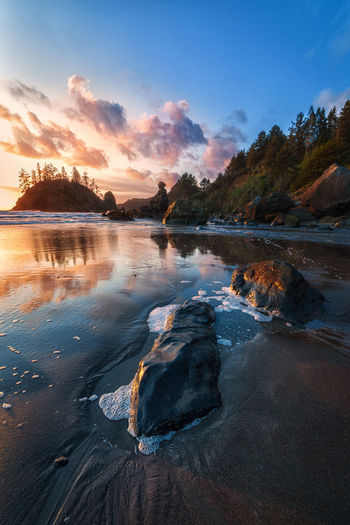 Sunset at Trinidad State Beach. Water Sky Cloud - Sky Scenics - Nature Tranquility Beauty In Nature Sunset Tranquil Scene Reflection Nature Rock No People Solid Lake Rock - Object Land Non-urban Scene Tree Idyllic Trinidad