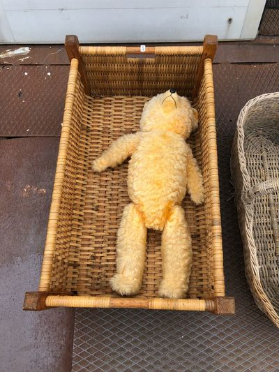 High angle view of stuffed toy on chair