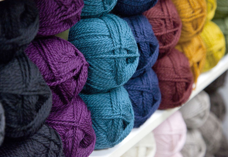 Close-up of multi colored wool