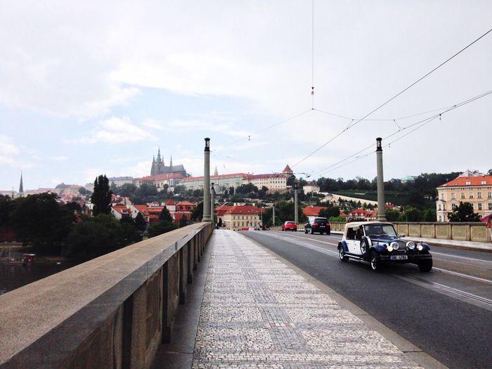 On A Holiday Vintage Cars Castle Bridge Europe