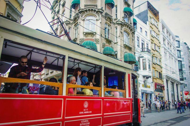Tram Istiklal Caddesi Passengers Istanbul Turkey