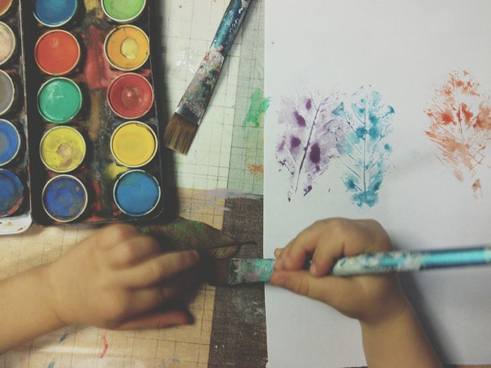 Kids Artwork Art And Craft Human Hand Paintbrush Indoors  Skill  One Person Kids Hands Autumn Autumn Leaves