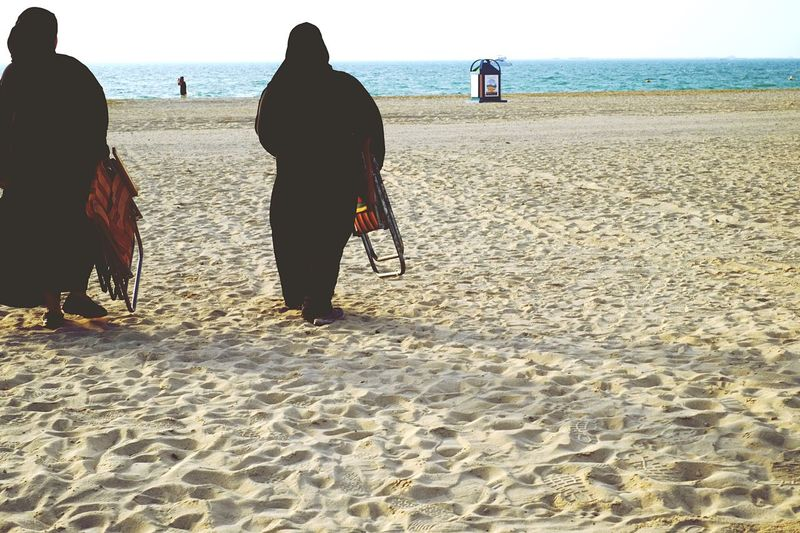 Diversity Beach Rear View Real People Burka  Culture Lifestyles