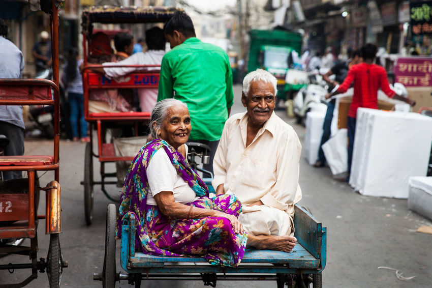 India Indian Culture  New Delhi Elderly Couple Elderly Man Indian Transport Poverty But Happiness Rickshaw