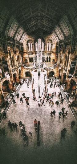 High angle view of people in museum