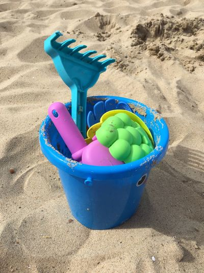 Land Multi Colored Sand Beach Holiday Container Nature Bucket Plastic Blue Sunlight Toy