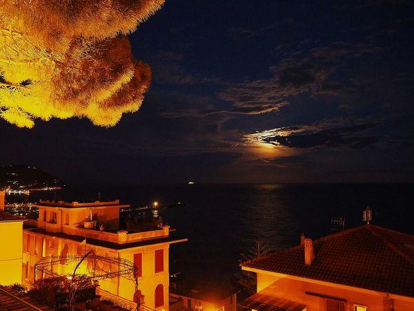 Imperia, Italy Italy Liguria Sea Moon Moonlight Nightphotography Night Lights Illuminated