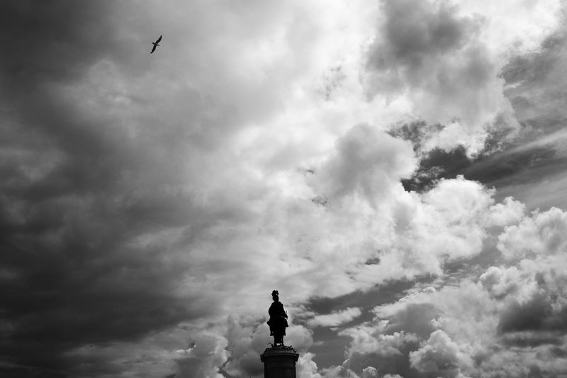 Bird Black And White Blackandwhite Cloud - Sky Day Flying Lisbon Low Angle View No People Outdoors Sky Statue