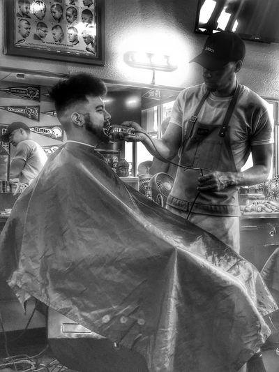 Getting in for a cut Barbershop Blackandwhite Hdr_Collection HDR Real People Men Lifestyles Reflection Indoors  Adult