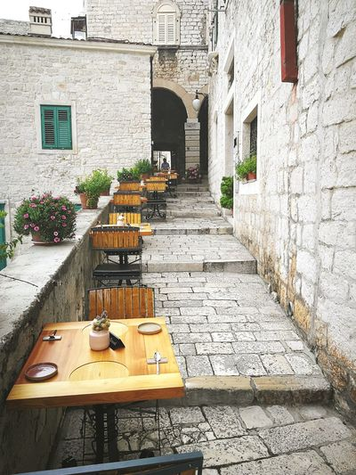 Lunch time! Restaurant Croatia Narrow Street Stairs Old Town Dalmatia Cafe Window Architecture Building Exterior Built Structure Entryway Outdoor Cafe Entrance Sidewalk Cafe Steps