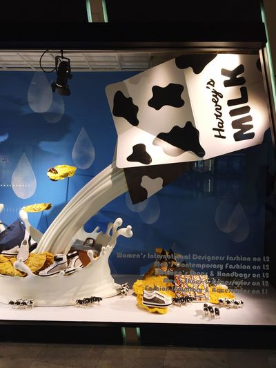 Milk within a window display at a Shopping Mall of Hong Kong Milk Milk Experience Window Display Shopping Mall Hong Kong Creative Design Creative Decoration