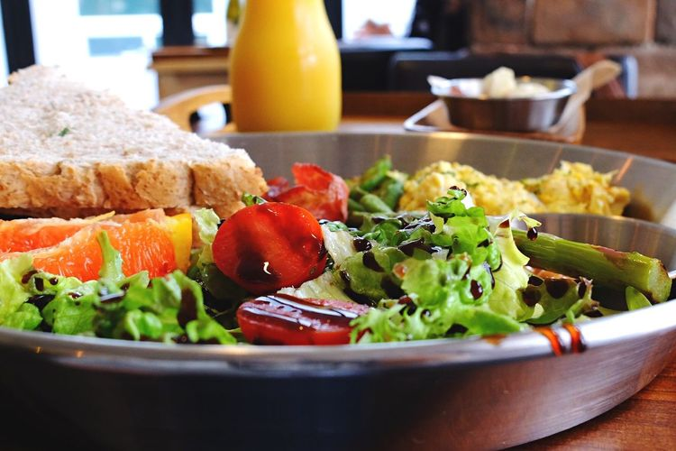 Close-up of brunch served in plate