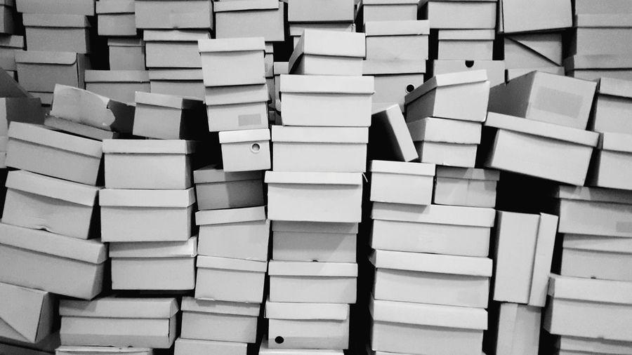 Full frame shot of boxes at warehouse