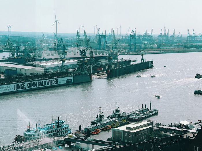 High angle view of commercial dock against sky