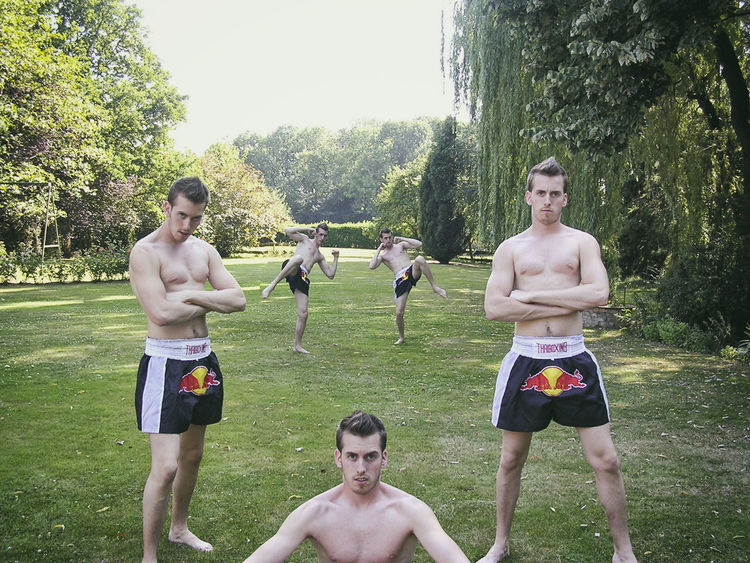 Clones of Muay Thai boxing champion Muay Thai Sport Champions Boxing Fighter Clones Twins Duplicate Outdoors RedBull Fitness Strong Trainers People And Places