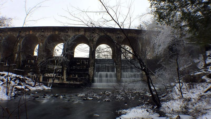 Water under the bridge Snow Winter Cold Long Exposure Architecture Built Structure Bridge - Man Made Structure Arch Day Bare Tree Winter Water Nature Outdoors Sky Tree No People Shades Of Winter