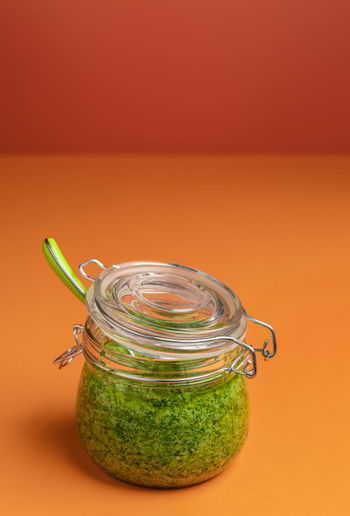 Close-up of fruit in jar