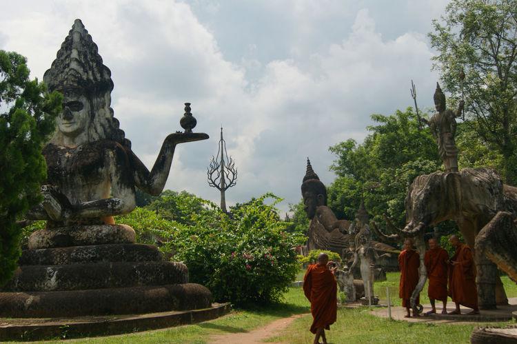 Buddha Footpath Laos Monks Place Of Worship Religion Sculpture Temple Tourism Vientiane Laos Vientianeprovince