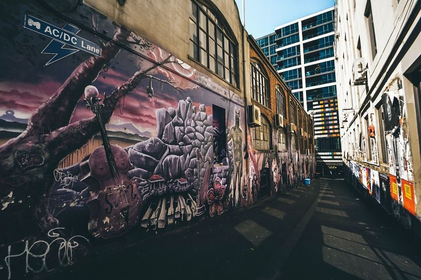 AC-DC Laneway-Melbourne,Australia. Architecture Building Exterior City Built Structure Travel Destinations Outdoors No People Day Australia Street Streetart StreetArtEverywhere Grafitti Welcome To Black