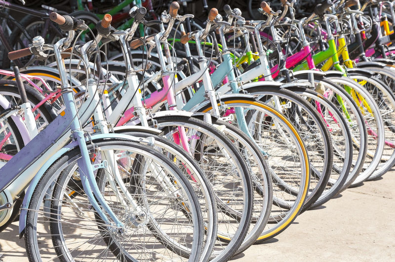 Bicycles parked in row