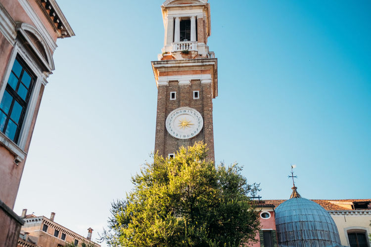 Venice Architecture Built Structure Building Exterior Building Clock Tower Time Sky Clear Sky Clock Tower Low Angle View Religion Belief Nature Spirituality Place Of Worship Day City Tree No People Clock Face Minute Hand
