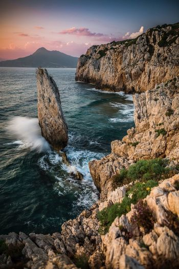 Nido dell'Aquila Sea Italia Seascape Landscape Sardegna Water Sea Rock Sky Scenics - Nature Beauty In Nature Solid Rock - Object Nature Sunlight Mountain Beach Outdoors Rock Formation