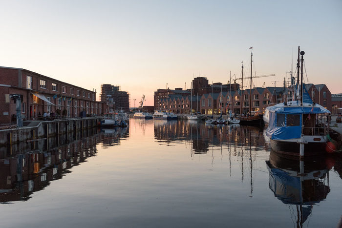 Hafen Summertime Wismar Harbor Architecture Building Exterior Built Structure City Cityscape Clear Sky Day Harbor Mode Of Transport Moored Nautical Vessel No People Outdoors Reflection Sky Sunset Tourism Transportation Vessels In Port Water Waterfront