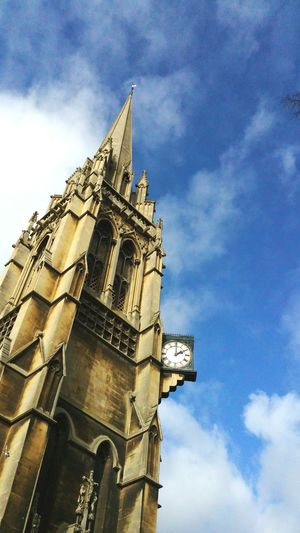 Cambridge is nice too... Tower Spire  Clock Sky Clouds Gothic England Today башня Sunny
