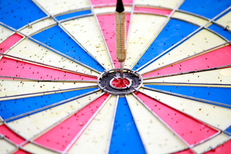 Full Frame Shot Of Dart Hitting Bullseye