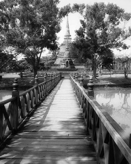 Sukothai Thailand ASIA Travelling Travel Blackandwhite Bridge Temple Serenity Backpacker Aroundtheworld
