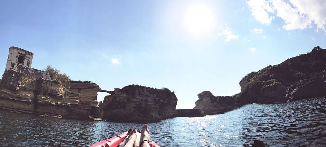 Relax! Water Day Nautical Vessel Outdoors Sky Nature Sunlight Transportation Sea Beauty In Nature Building Exterior Architecture Italy Naples Southitaly Beach Vacations Gaiola  Rock Kayak Peace Relax Dayoff