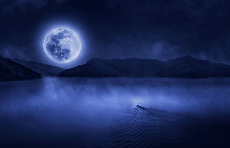 Astronomy Big Moow Blue Boat Fairy Tale Lake Majestic Moon Mountain Mountain Range Mythology Night Reflection Water