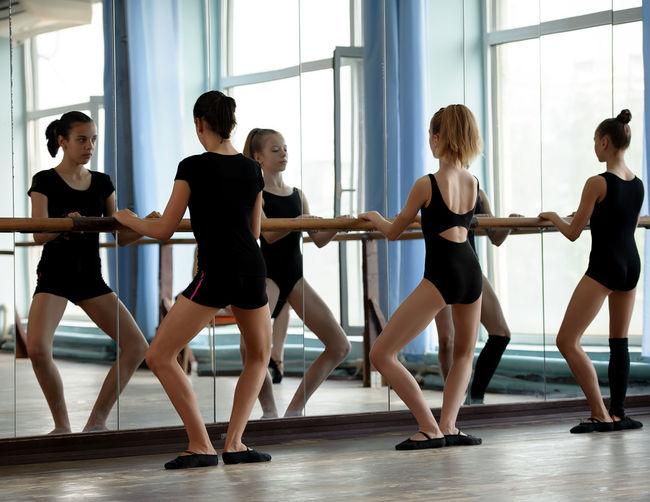 Academy Ballet Ballet-girl Barre Caucasian Dance Dance-hall Dancer Female Girl Mirror Practice Practise School Stretch Student Studio