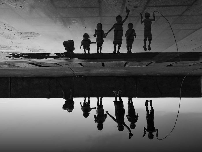 Playtime Group Of People Water Reflection Silhouette Sky Nature Men
