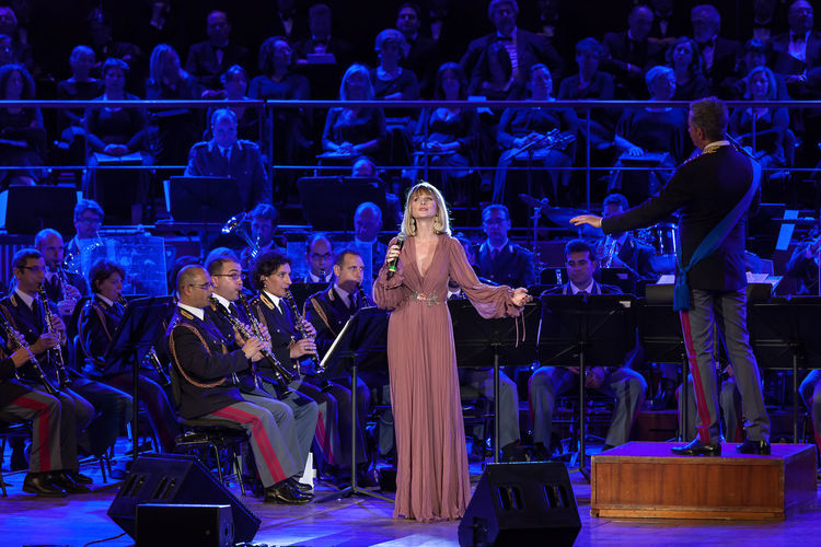 Rome, Italy - May 6, 2015: Serena Autieri, sings in the concert of the Band of the State Police. Autieri Celebrity Concert Concert Famous People Italian Music Serena Autieri Show Singer  Star Success