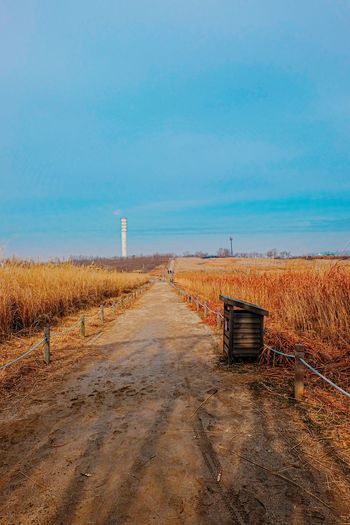 Road leading towards field against blue sky