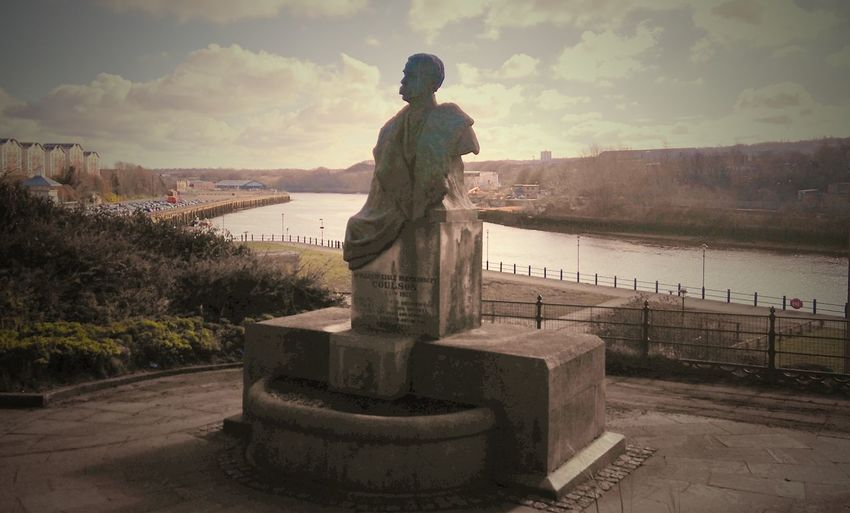 Built Structure Cloud Cloud - Sky Coulson Full Length Human Representation Men Nature Outdoors Railing River Sculpture Sea Sky Standing Sunset Tranquil Scene Tranquility Tyne Water