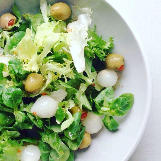 Fresh salad Salad Lettuce Rocket Pickles Picked Onions Olives Stuffed Olives Salad Dressing Fresh Food Healthy Eating Clean Eating Summer Salad Shot From Above  Plate Dish Meal Eat