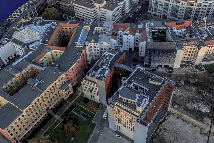 Aerial View Architecture Berlin Building Exterior Built Structure City Cityscape Day Downtown District High Angle View No People Outdoors Road Skyscraper Sport Stadium Travel Destinations Urban Skyline View