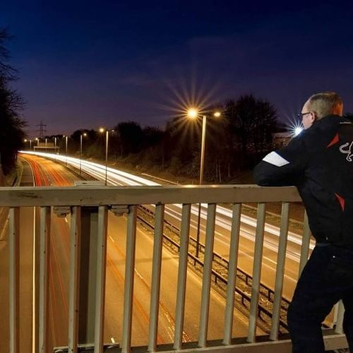One Man Only Night Long Exposure Traffic Outdoors Land Vehicle High Angle View Motion Street Light Illuminated Road Speed Sky Travel Destinations Transportation Bridge - Man Made Structure Cut And Paste Cut And Paste