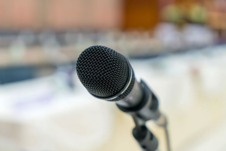 Arts Culture And Entertainment Audio Equipment Black Color Business Close-up Communication Equipment Focus On Foreground Global Communications Indoors  Input Device Meeting Microphone Microphone Stand Music Noise Report Sound Recording Equipment Speech Stage Talking Technology The Media