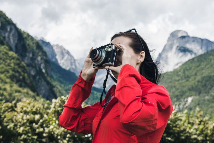 Camera - Photographic Equipment Red Summertime Taking Photos Taking Pictures Travel Photography Hikingadventures Holding Instagram Instant Leisure Activity Mountain Mountains Outdoors Summer Young Women