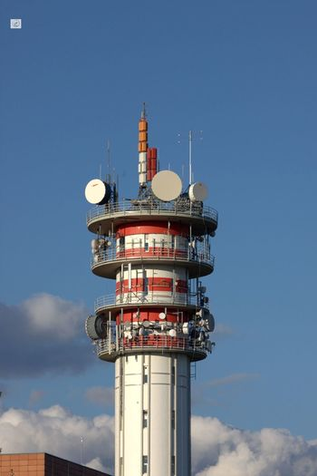 Architecture Clouds And Sky Communication Tower Day High Section Outdoors Red Circles Tall - High