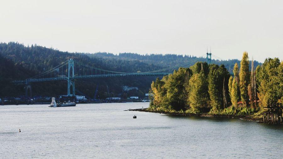 Willamette River  Willamette Valley St Johns Bridge Architecture Bridge Boats North Portland Portland River View Pacific Northwest